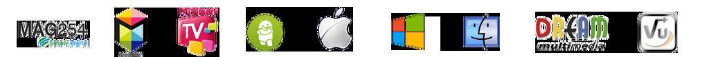 Logos von Geräten mit denen man unsere IPTV Listen benutzen kann